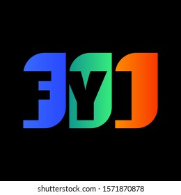 Vector of modern FYI lettering isolated black background. Gradient FYI icon. Eps 10 vector illustration.