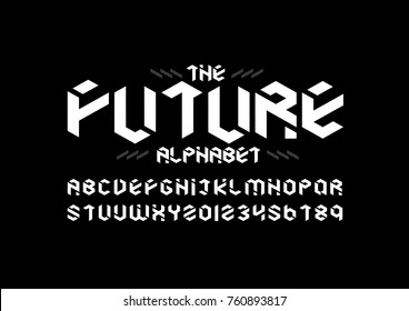 Vector of modern geometric font and alphabet