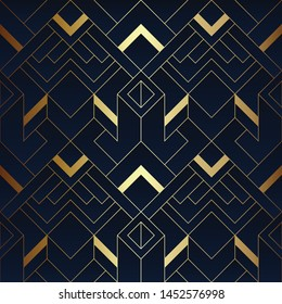 Vector modern geometric tiles pattern. luxury dark blue with gold shape. Abstract art seamless background.