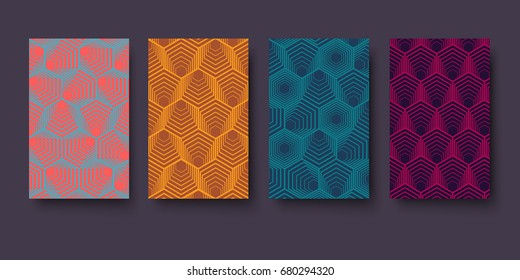 Vector modern geometry pattern hexagon, abstract geometric background, trendy print, retro texture