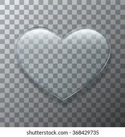 Vector modern glass heart on sample background. Eps10