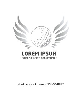 vector modern golf logo.Golf ball logo. Golf ball with wings on white background illustration.