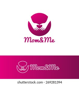 Vector modern gradient mother care and baby center logotype