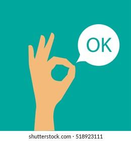 vector modern hand with ok