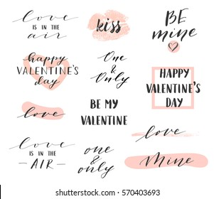 Vector modern hand written overlays and phrases for love cards, posters for Valentines Day or date, wedding. Hand lettering, elegant calligraphy set.