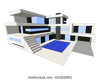 Vector modern house, background of building. City scene with modern home for website, flyer, poster, magazine cover.