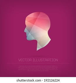 Vector modern human head icon with colorful trendy and modern polygonal texture
