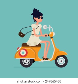 Vector modern icon on hipster young woman character riding fast retro scooter wearing sun glasses, isolated | Urban modern lifestyle abstract illustration of dynamic female person