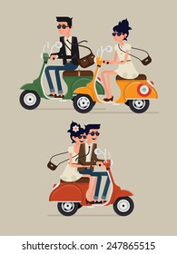 Vector modern icon on hipster young man and woman couple characters riding fast retro scooter wearing sun glasses, isolated | Urban modern lifestyle abstract illustration of dynamic young people