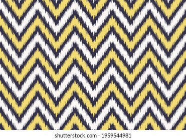 Vector modern ikat zig zag or chevron line geometric shape with yellow gold and purple border color seamless pattern background. Use for fabric, textile, interior decoration elements, wrapping.