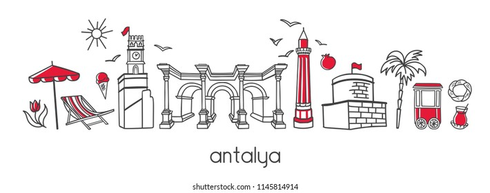 Vector modern illustration Antalya, Turkey with hand drawn doodle turkish symbols. Horizontal panoramic scene for banner or print design. Simple minimalistic style with black outline and red elements.