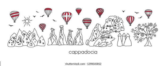 Vector modern illustration Cappadocia with hand drawn doodle turkish symbols. Horizontal panoramic scene for banner or print design. Simple minimalistic style with black outline and red elements.