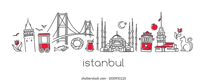 Vector modern illustration Istanbul with hand drawn doodle turkish symbols. Horizontal panoramic scene for banner or print design. Simple minimalistic style with black outline and red elements.
