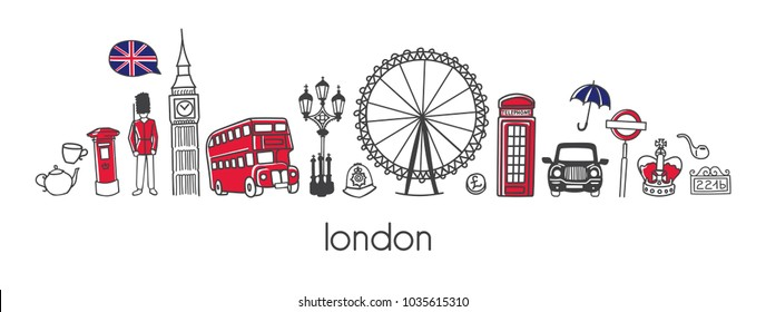 Vector modern illustration London with hand drawn doodle british symbols. Horizontal panoramic scene for banner or print design. Simple minimalistic style with black outline and red elements.