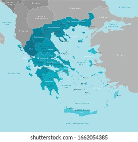Vector modern illustration. Simplified administrative map of Greece (Hellenic Republic). Border with nearest states (Bulgaria, Turkey and etc). Blue background of seas. Names of cities and regions