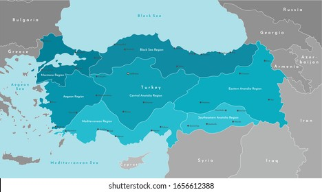Vector modern illustration. Simplified geographical  map of Turkey and nearest states (Syria, Greece, Bulgaria, Iran and etc.) Blue background of Black and Mediterranean Sea. Turkish cities and region