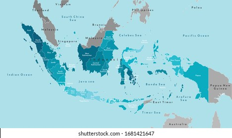 Vector modern illustration. Simplified geographical  map of Indonesia and neighboring countries (Malaysia, Brunei and etc). Blue background of Indians ocean and seas. Names of Indonesian provinces