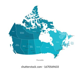 Vector modern illustration. Simplified isolated administrative map of Canada in blue colors. White background and outline. Names of the cities (Ottawa, Toronto and etc.) and provinces.