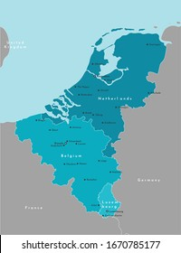 Vector modern illustration. Simplified political map of states of Benelux Union and neighboring areas. Blue background of North Sea. Names of largest cities of Belgium, Netherlands, Luxembourg.