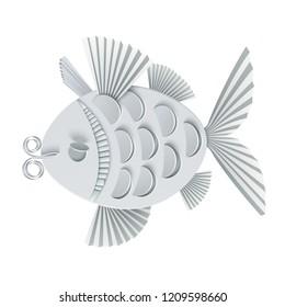 Vector modern illustration of volumetric fish. Trendy craft style card design. 3d effect imitation