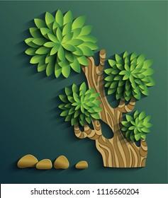 Vector modern illustration of volumetric tree. Trendy craft style card design. 3d effect imitation