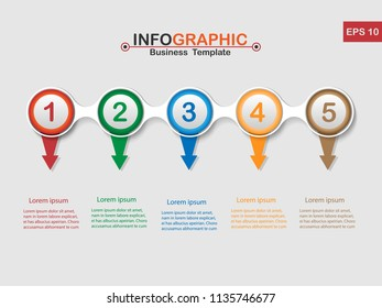 Vector modern Infographic business template design colorful circles with 5 option on the grey background, Financial and marketing charts. Eps 10.