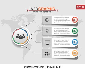 Vector modern Infographic business template design colorful circles with 4 option on the grey background, Financial and marketing charts , used for workflow layout