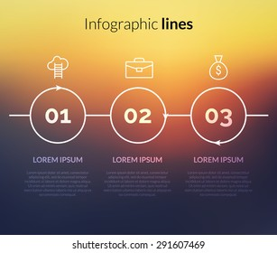 Vector modern Infographic with circles, pointers for website. 3 steps concept layout for business corporate on nice background