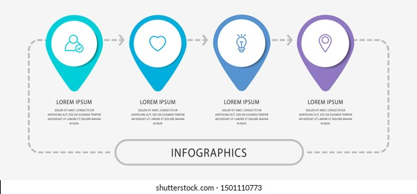 Vector modern infographic flat template pin for four paper label, diagram, graph, presentation. Business concept with 4 options and marks. Blank space for content, step for step, timeline, workflow