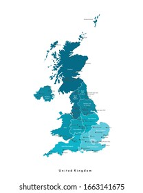 Vector modern isolated illustration. Simplified administrative map of United Kingdom of Great Britain and Northern Ireland (UK). Blue shapes. Names of regions and some big cities. White background