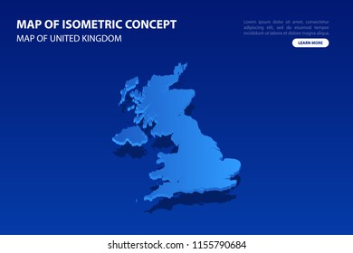 Vector modern isometric concept greeting Card map of United Kingdom on blue background illustration eps 10.