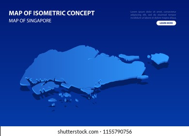 Vector modern isometric concept greeting Card map of Singapore on blue background illustration eps 10.