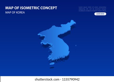 Vector modern isometric concept greeting Card map of Korea on blue background illustration eps 10.