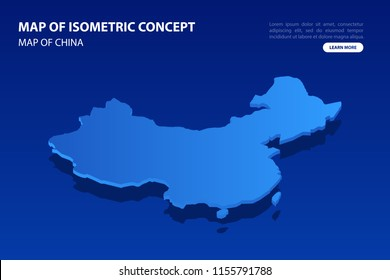 Vector modern isometric concept greeting Card map of China on blue background illustration eps 10.