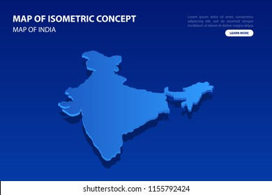 Vector modern isometric concept greeting Card map of India on blue background illustration eps 10.