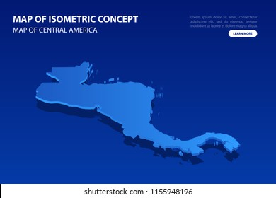 Vector modern isometric concept greeting Card map of Central America on blue background illustration eps 10.