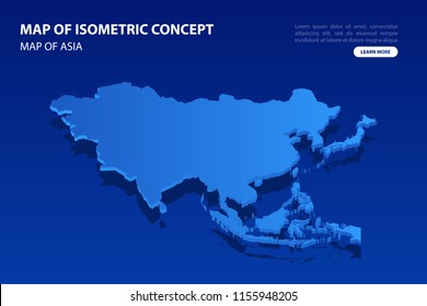 Vector modern isometric concept greeting Card map of Asia on blue background illustration eps 10.