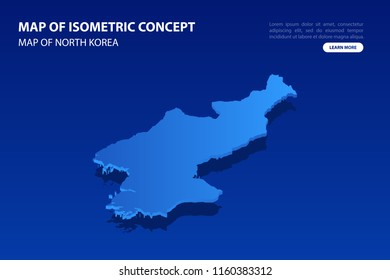 Vector modern isometric concept greeting Card map of North Korea on blue background illustration eps 10.