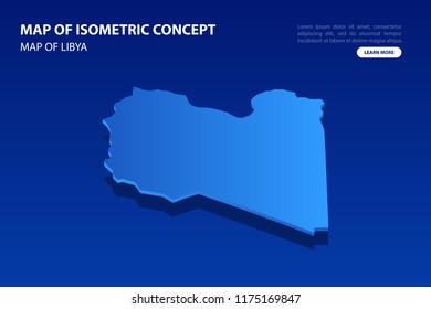 Vector modern isometric concept greeting Card map of Libya on blue background illustration eps 10.