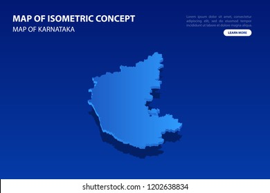 Vector modern isometric concept greeting Card map of Karnataka on blue background illustration eps 10.