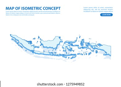 Vector modern isometric concept greeting Card map of Indonesia on blue background illustration eps 10.