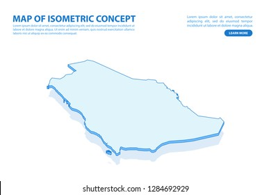 Vector modern isometric concept greeting Card map of Saudi Arabia on blue background illustration eps 10.