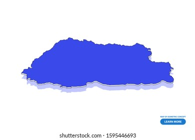 Vector modern isometric concept greeting Card map of Bhutan on blue background illustration eps 10.