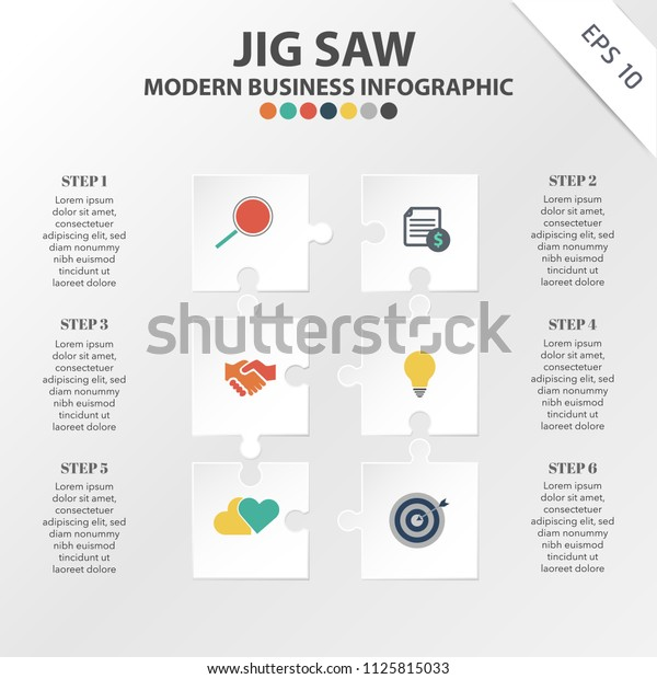 Vector Modern Jig Saw Infographic Template Stock Vector Royalty Free 1125815033