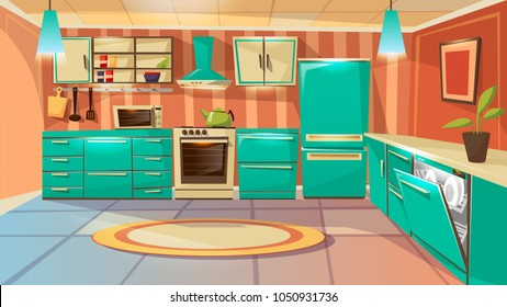 Vector modern kitchen interior background template. Cartoon dinner room illustration with furniture kitchen counter cupboard appliance fridge cooking stove microwave oven range hood washing machine