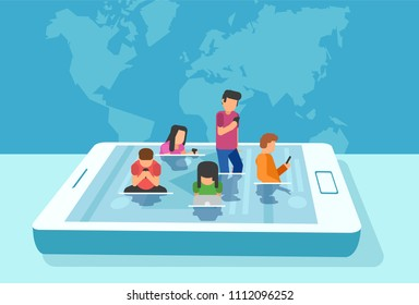 Vector of a modern lifestyle concept. Group of young people immersed in social media content