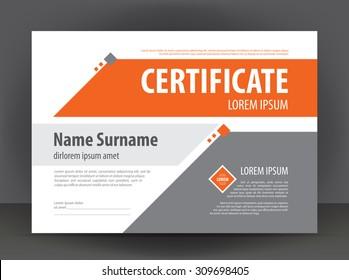 Vector modern light gray & orange certificate or diploma design print template