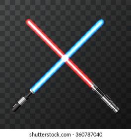 Vector modern light swords on dark background. EPs10