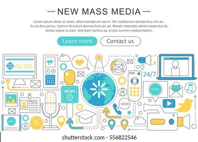 Vector modern line flat design News mass media concept. News mass media icons Website Header, app design poster banner.