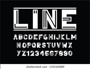 vector of modern  line font and alphabet